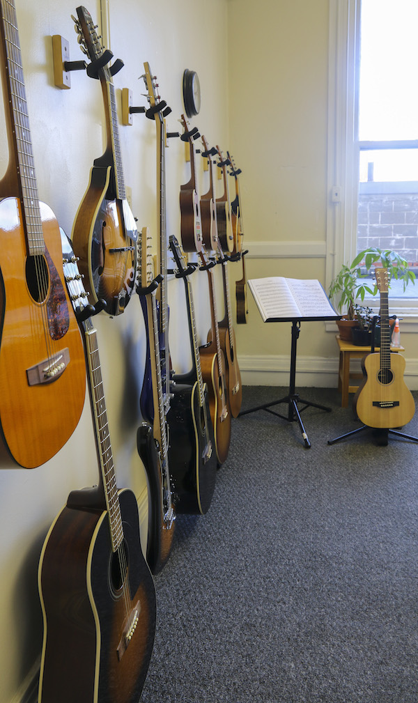A picture of our Boston-based guitar lessons studio interior.