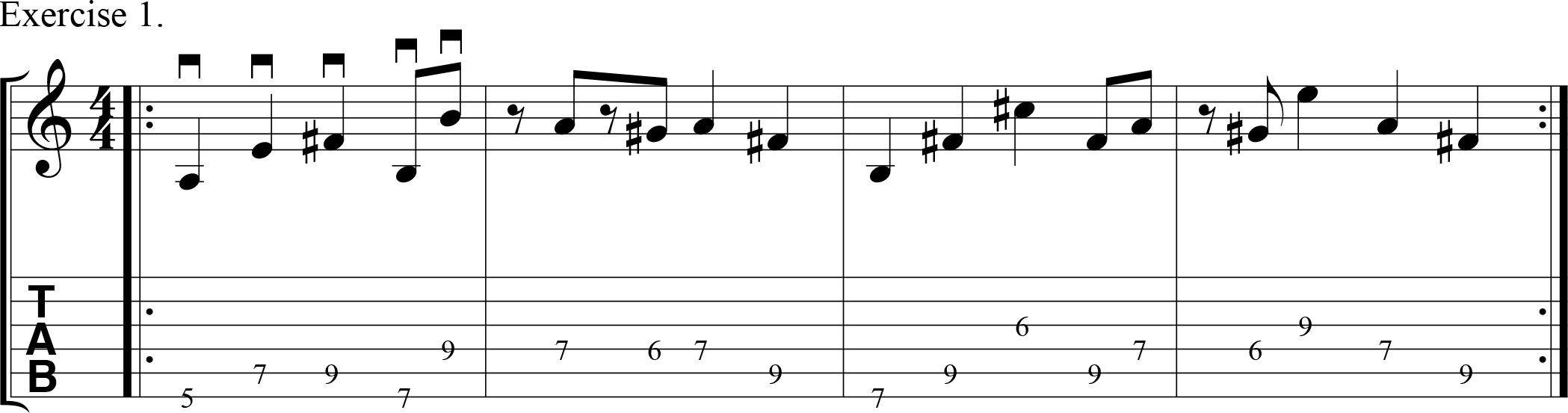 Downpicking exercise in a contemporary musical style.