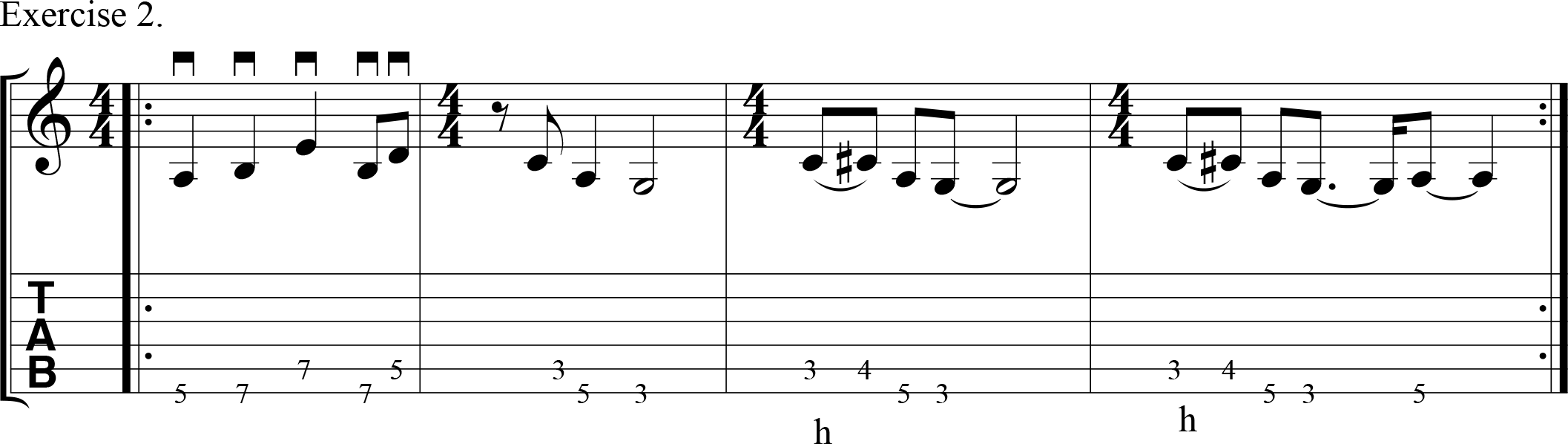 Downpicking exercise in a blues style.