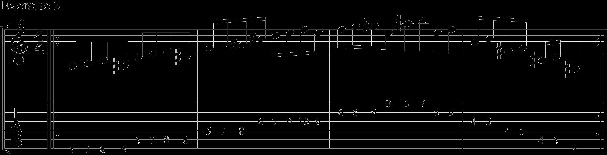 Downpicking using chromatic notes.