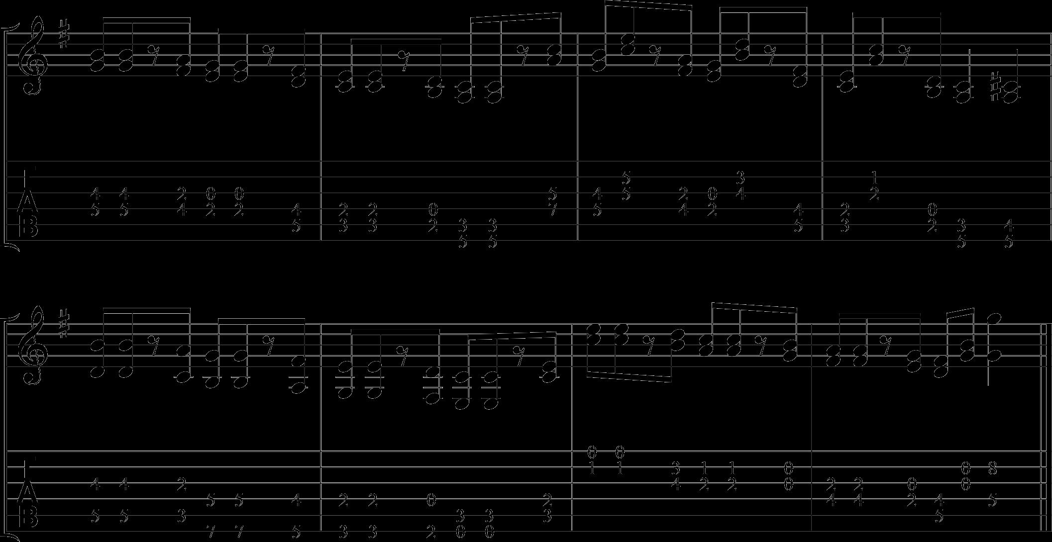 Double stop example--pentatonic scale.