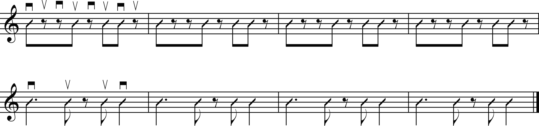a series of simple strumming patterns for guitar.