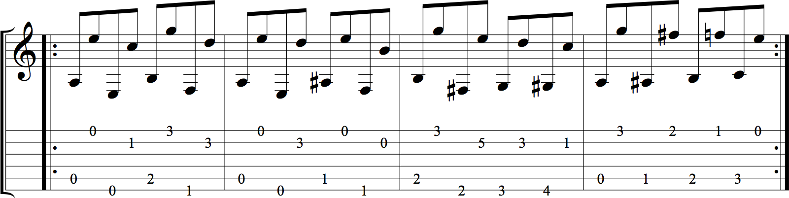 String-skipping exercise for skipping three strings at a time.