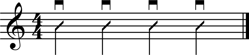 simple strumming pattern - all quarter notes