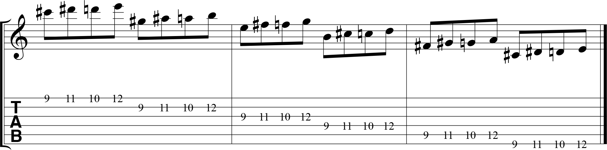 Chromatic alternate picking exercise for guitar, 1324, descending.