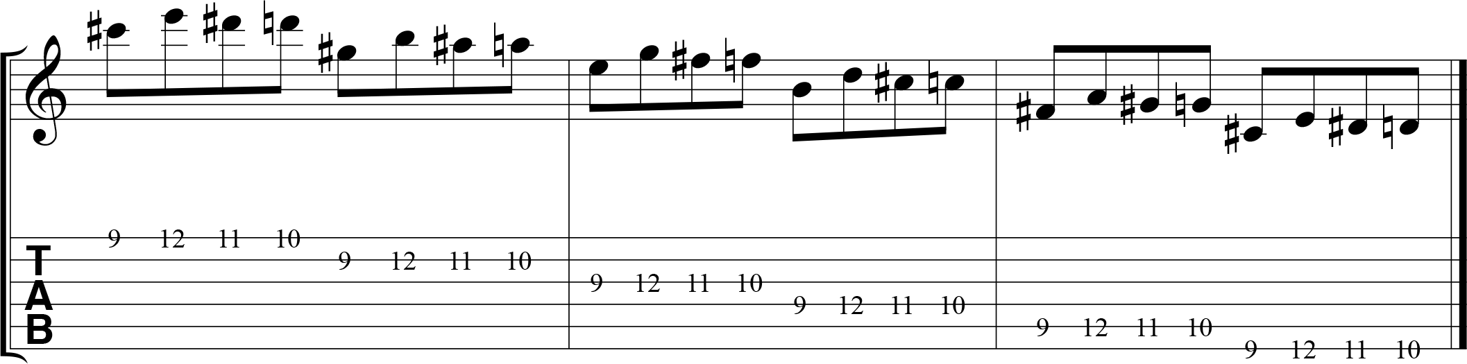 Chromatic alternate picking exercise for guitar, 1432, descending.