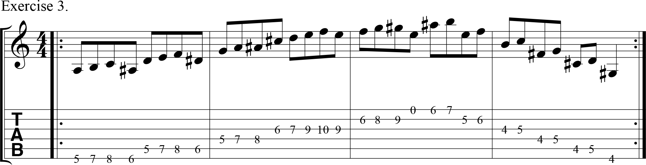 Downpicking using chromatic notes.