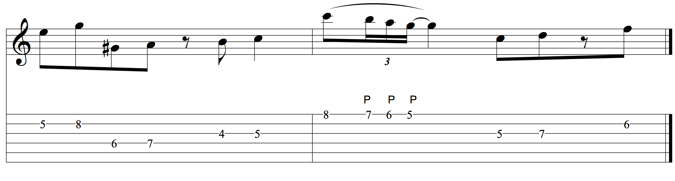 Practicing the three-note chromatic pull-off in context..