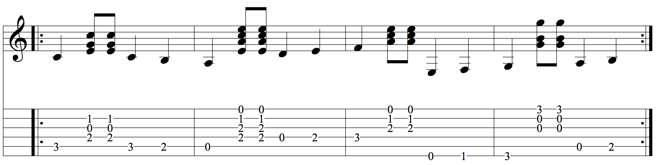 Building pick-hand accuracy with by adding melodic bass sequences to connect chords.