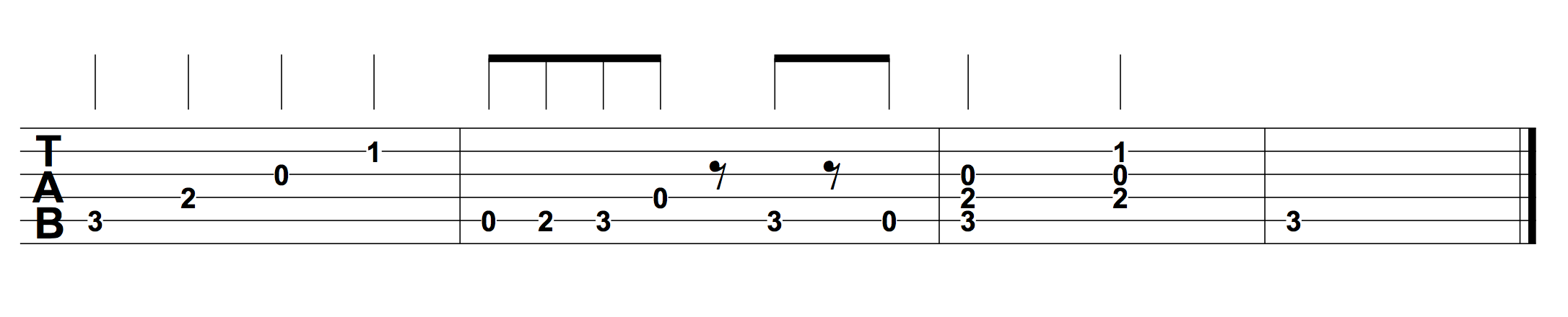 How to read guitar tab hub guitar the stems above the fret numbers along with the rests help show accurate rhythmic values without this information the rhythm would not be clearly hexwebz Gallery