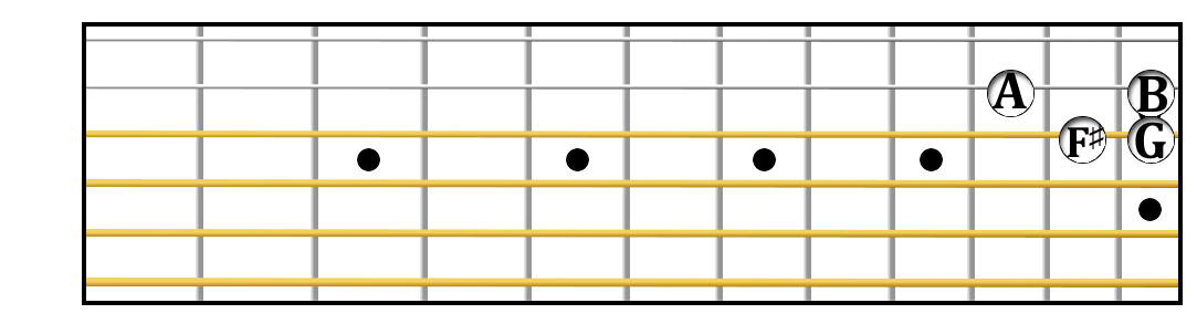 G major scale up two strings, part 7.