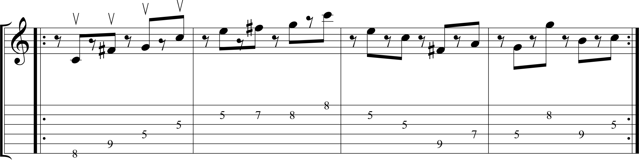 Up-picking exercise in a contemporary musical style.