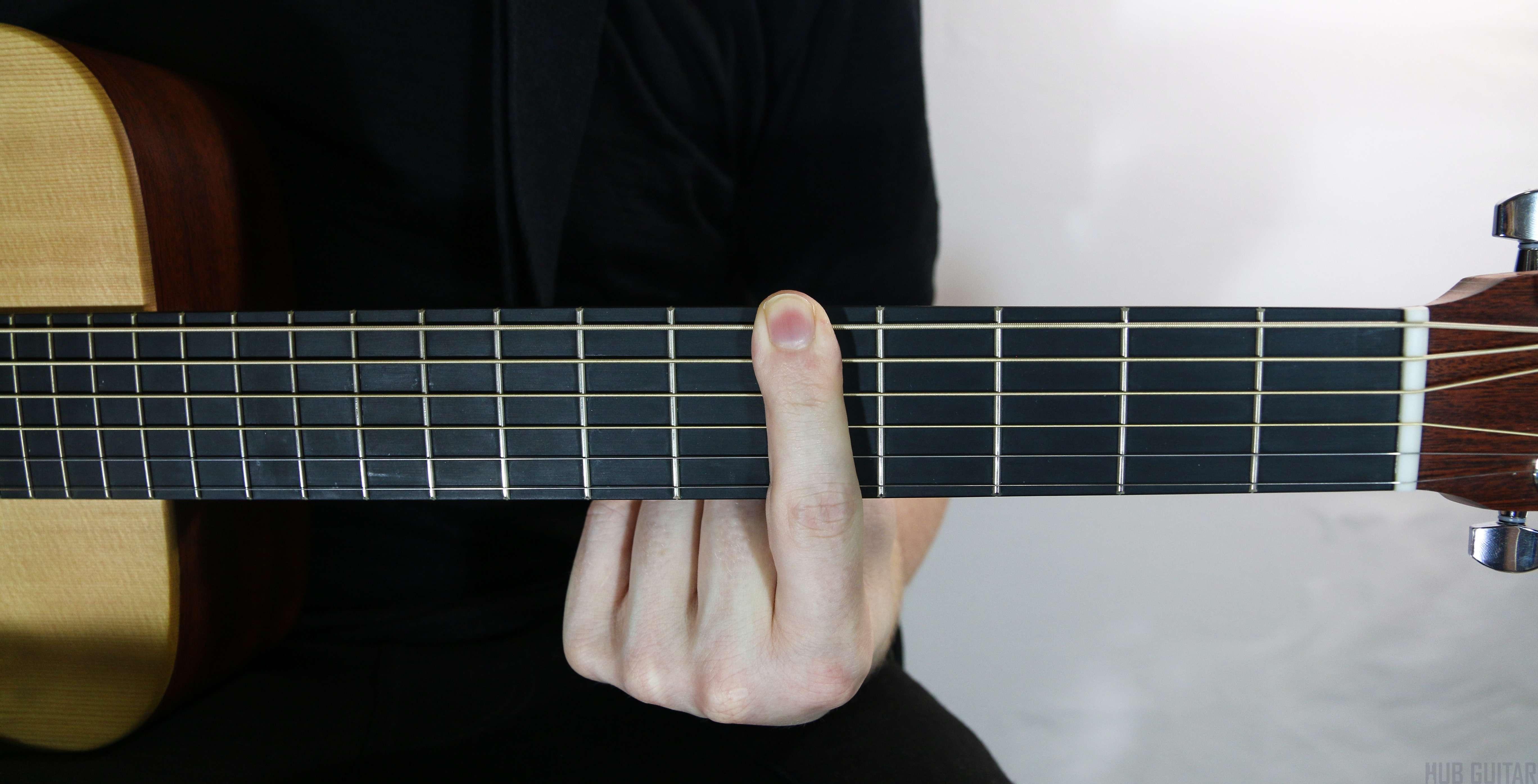 One finger barring across all frets.